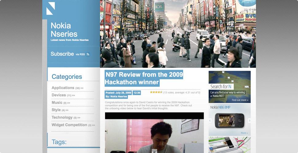 Nokia Nseries Blog Homepage